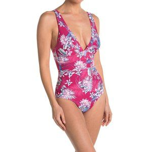 SEA LEVEL Spliced Floral One Piece Swimsuit Pink 6 NEW